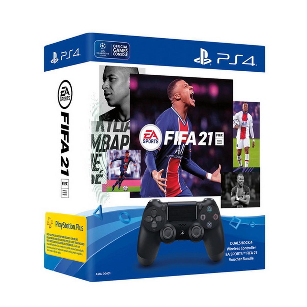 คอนโทรลเลอร์ (สีดำ) รุ่น DualShock 4 EA SPORTS FIFA 21 Voucher Bundle
