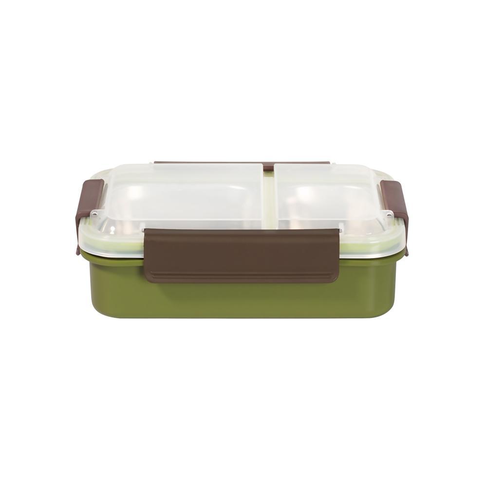 [เข้าไมโครเวฟได้]  กล่องอาหารสเตนเลส 2ช่อง 750ml - สีเขียว